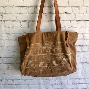 BANANA REPUBLIC Brown Canvas/Leather Shoulder Bag